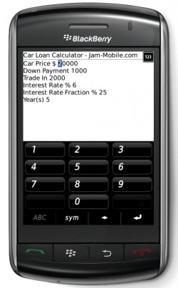 Auto Car Loan Calculator for Blackberry