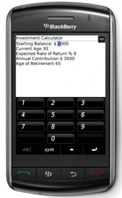401k - IRA Investment Calculator for Blackberry